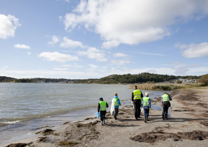 A group of people cleaning up the beach.