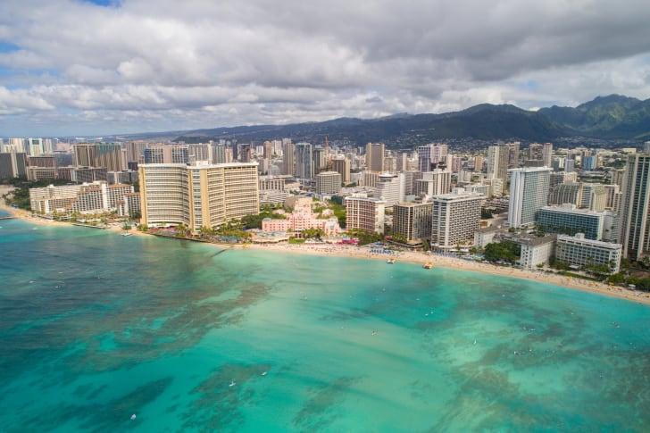 Aerial image of tropical Waikiki Beach Honolulu Hawaii