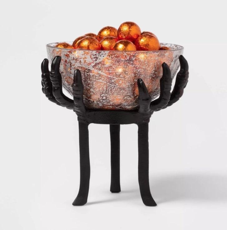 Crow Feet Glass Halloween Serving Bowl Black Tall