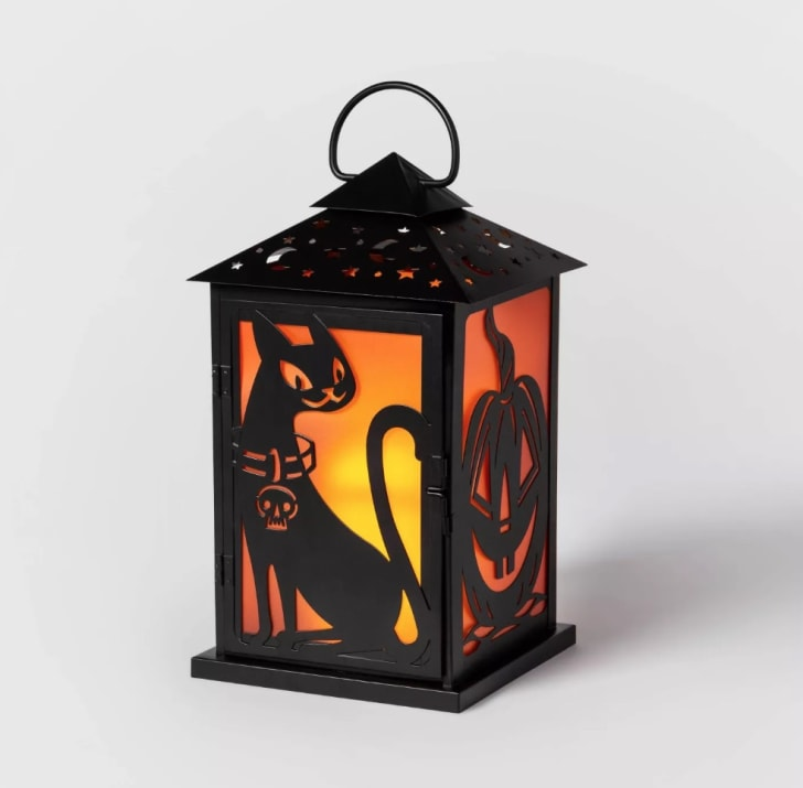Cat/Pumpkin Silhouette Metal Lantern Halloween Decoration