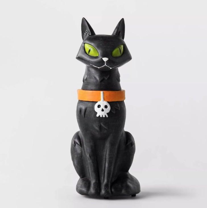 Animated Black Cat Statue Decorative Halloween Prop