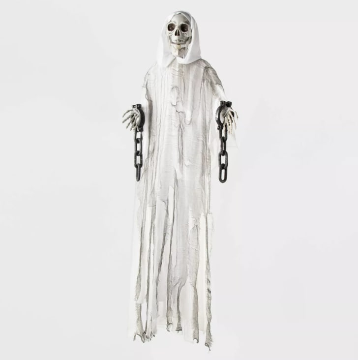 5' Animated LED Reaper Skeleton Ghoul White with Chains Decorative Halloween Prop