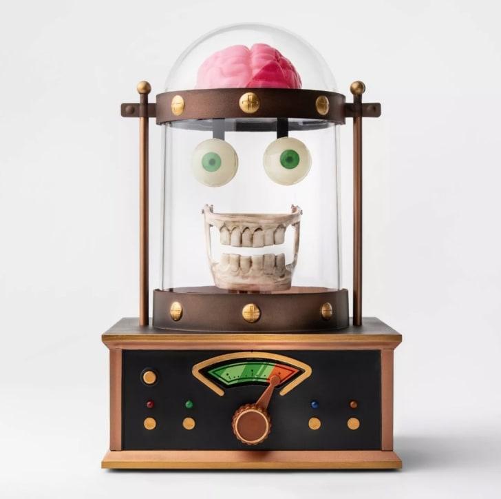 Animated Taking Skull in Cloche Halloween Décor