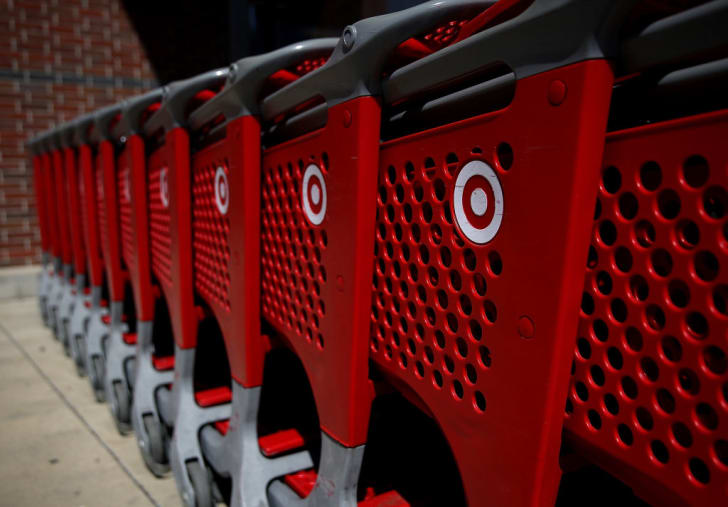 The Target logo is displayed on shopping carts outside of Target store on September 25, 2017 in San Rafael, California