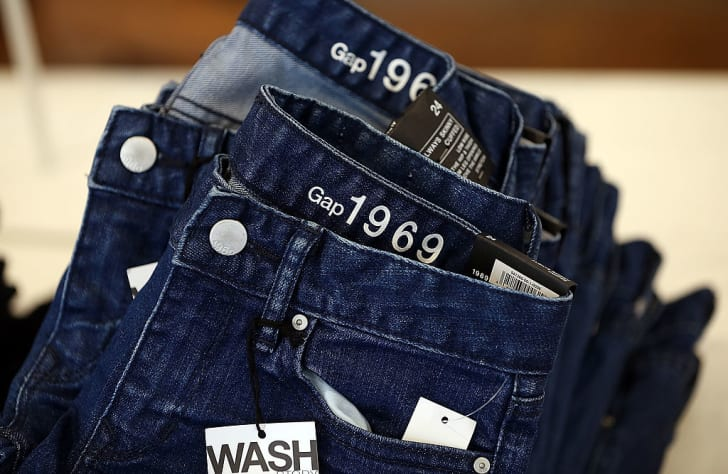 Gap jeans are displayed at a Gap store on February 20, 2014 in San Francisco, California