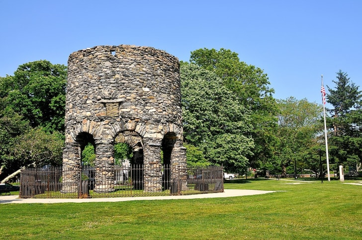 The Newport Tower in Touro Park.