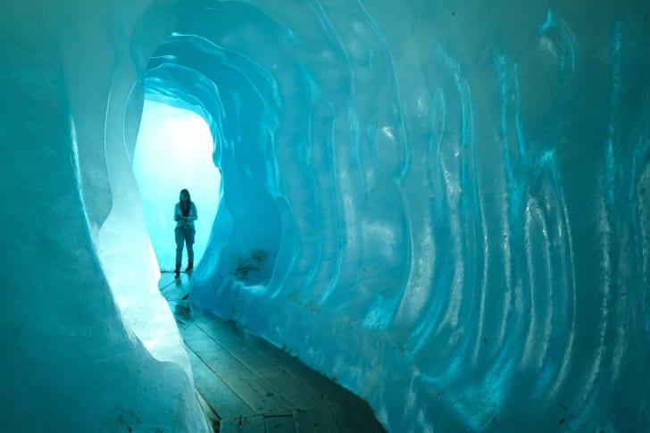 Rhone glacier underground ice grotto
