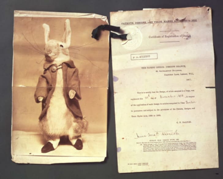 A Peter Rabbit doll and patent application from 1903 is pictured