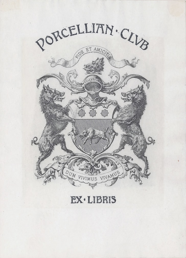 The bookplate of the Porcellian Club at Harvard