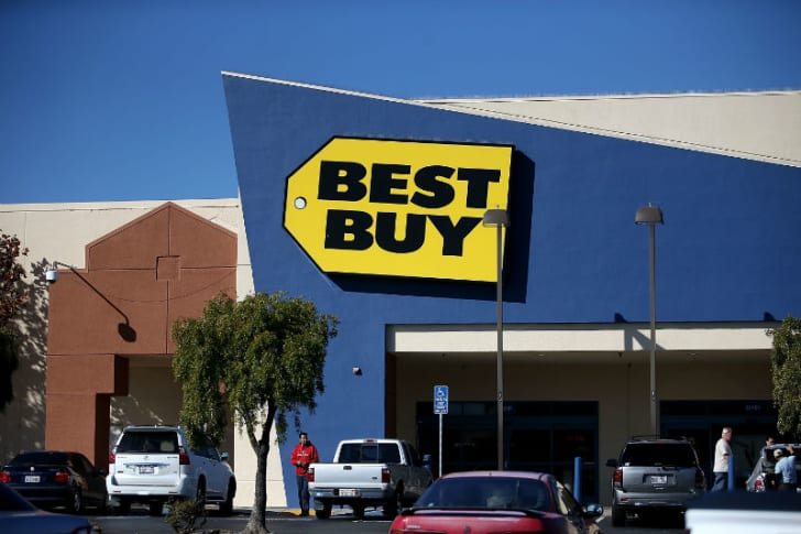 The exterior of a Best Buy store in Bruno, California is pictured in November 2015