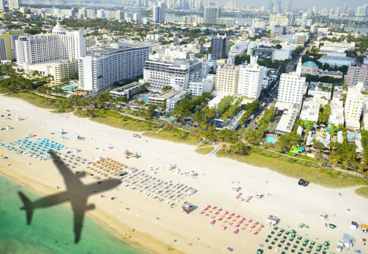 Shadow of airplane arriving in Miami