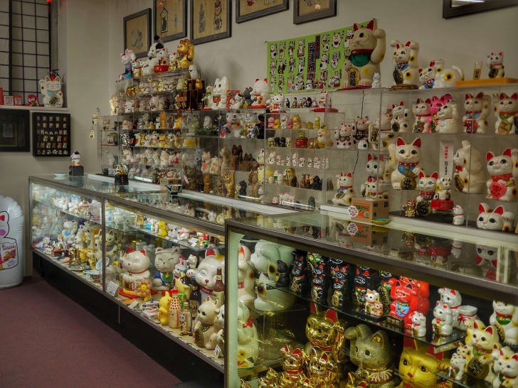 Displays inside the Lucky Cat Museum