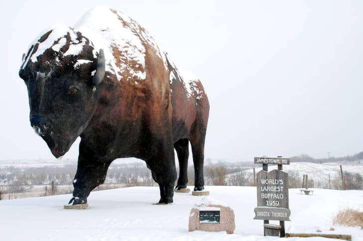 """World's Largest Buffalo"" statue near the National Buffalo Museum"