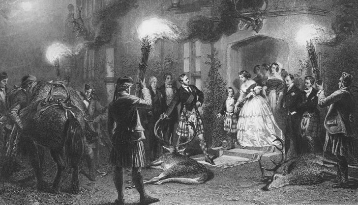 Queen Victoria welcomes home the hunters at Balmoral, September 1953. 'An Evening at Balmoral Old Castle - The Stag Brought Home' - an engraving by L. Stocks after a watercolour painting by Carl Haag