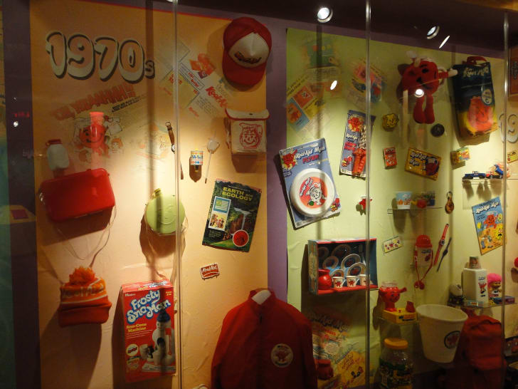 An exhibit of Kool-Aid memorabilia from the 1970s at the Hastings Museum in Nebraska.