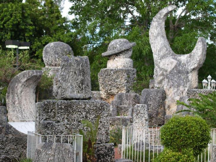Strange statues made of coral at the Coral Castle in Florida.