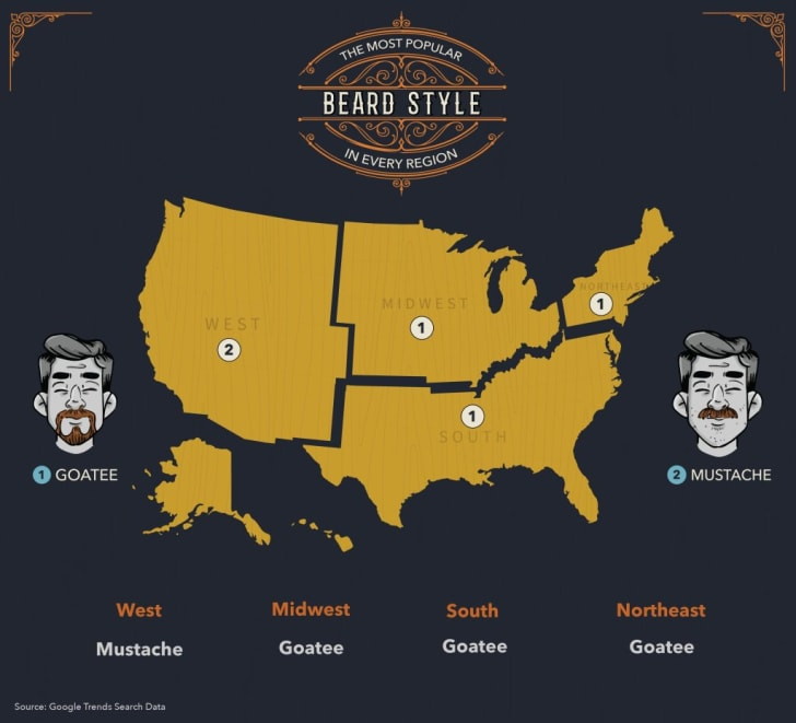 The black Tux regional map of popular beards