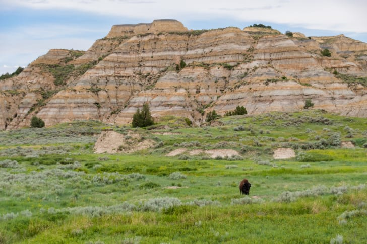A rock formation in Theodore Roosevelt National Park with gray, yellow, and light colored-layers.