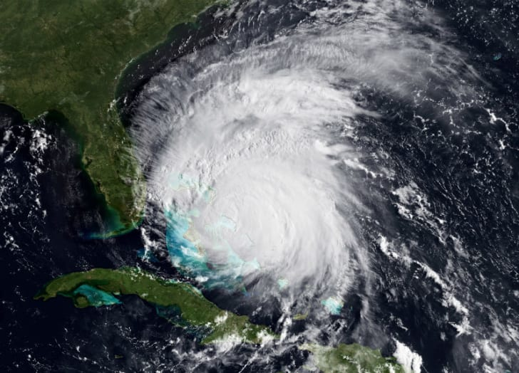 A satellite image of Hurricane Irene in the Caribbean Sea in August 2011 is pictured