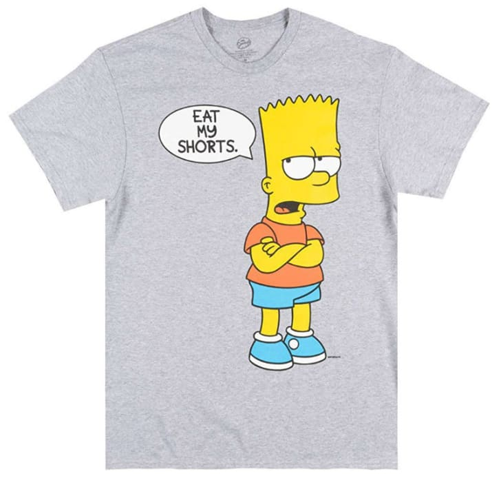 Bart Simpson of 'The Simpsons' television series is pictured on a T-shirt