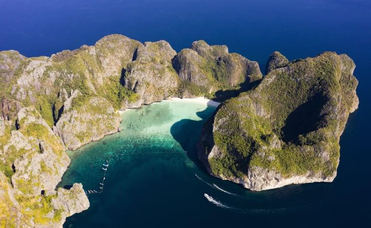 Aerial view of Maya Bay in Phi Phi Island in Thailand