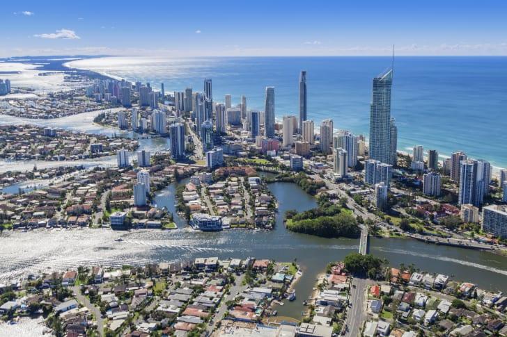 Aerial view of Surfers Paradise in Queensland, Australia