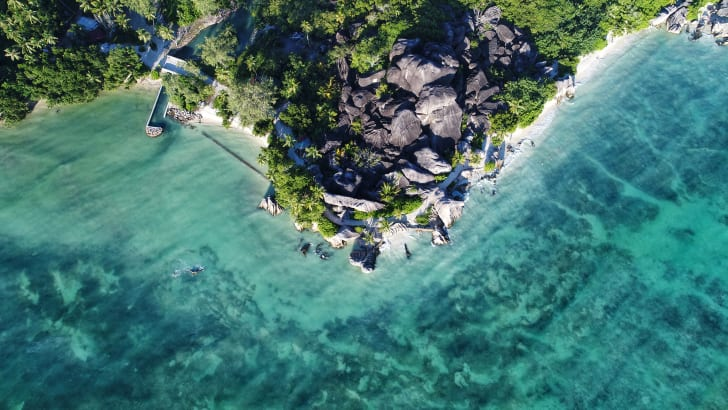 Aerial view of Anse Source D'argent in Seychelles