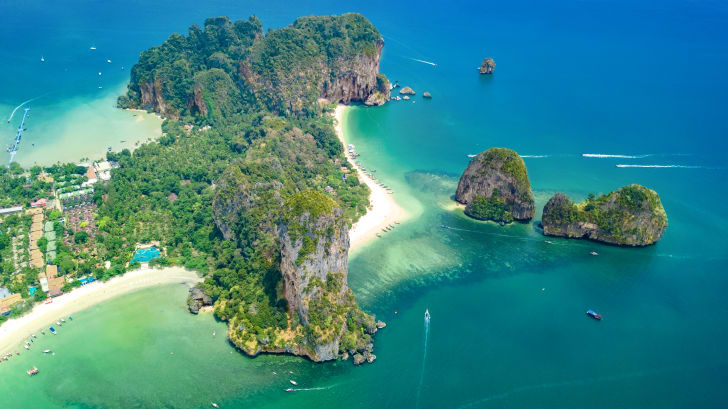 Aerial view of Railay Beach in Thailand