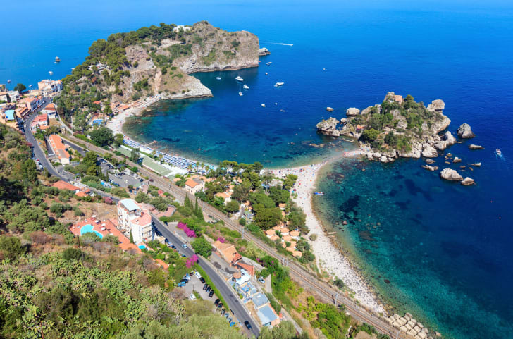 Aerial view of Isola Bella at Taormina in Sicily