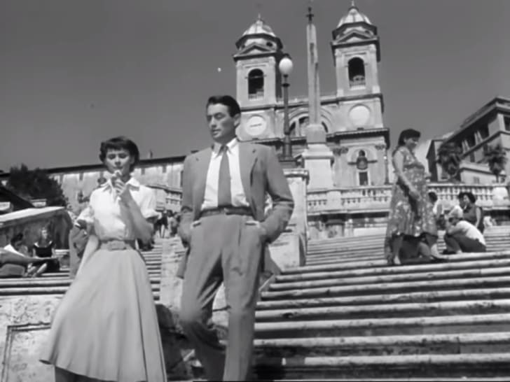 Audrey Hepburn and Gregory Peck on the Spanish Steps in Roman Holiday