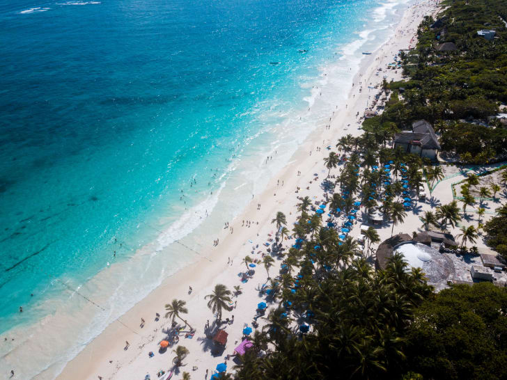 Aerial view of a beach in Tulum, Mexico