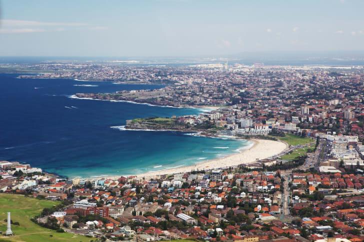 Aerial view of Bondi Beach in Australia