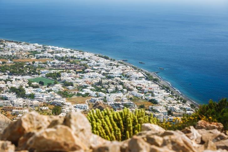 Aerial view of Kamari Beach in Greece