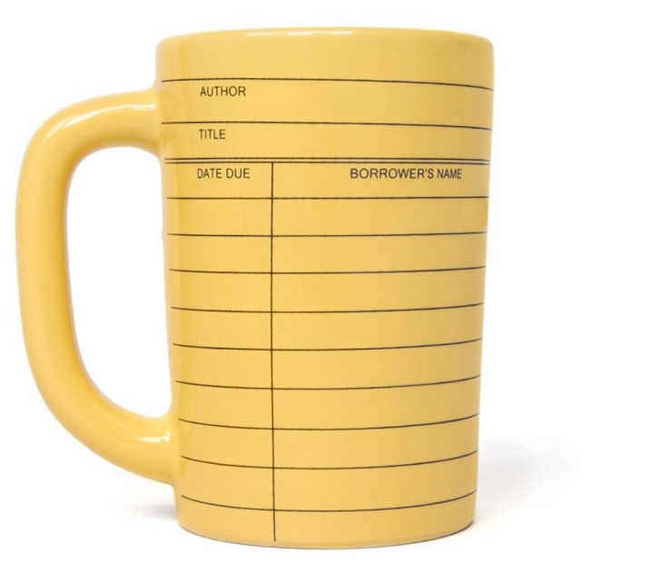 Out of Print's Library Card mug