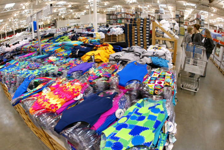 A clothing display is pictured at a Costco in Niles, Illinois in 2002