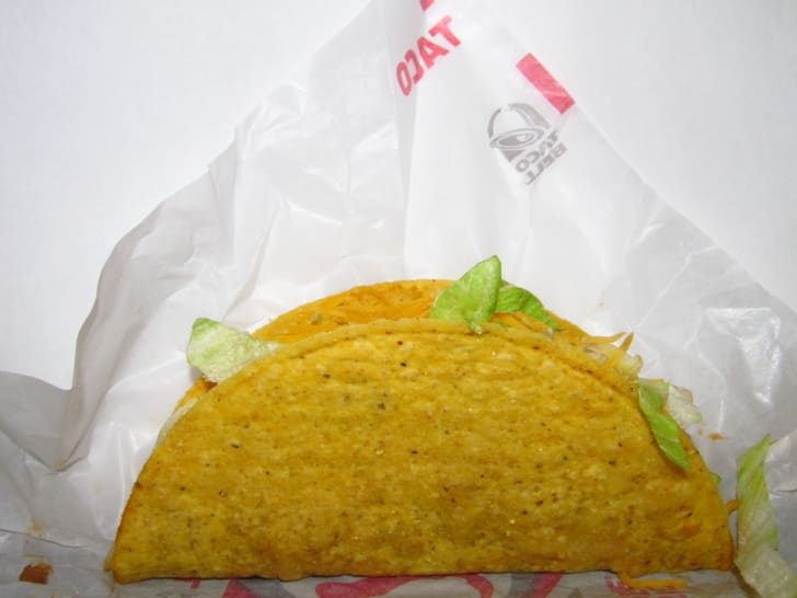 A hard shell taco at Taco Bell