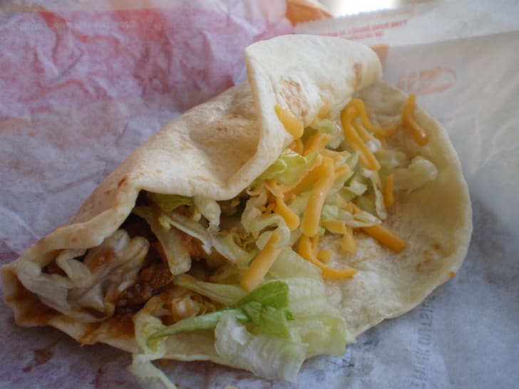 A soft shell taco at Taco Bell