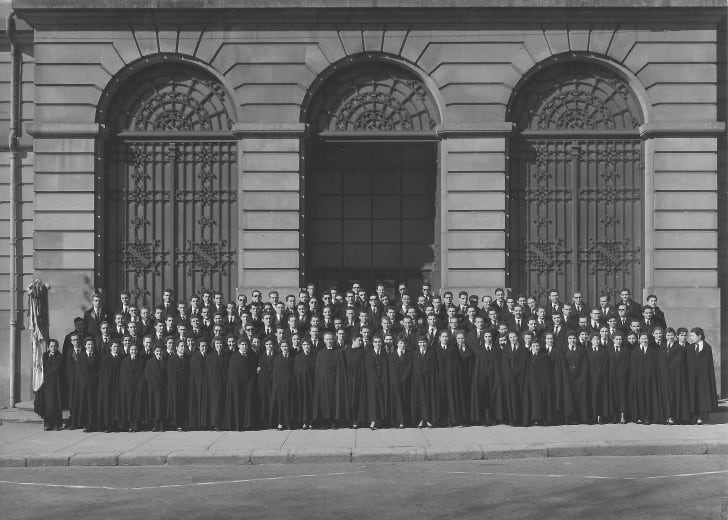 Students from the Orfeão Universitário do Porto, a student association at the University of Porto, pictured in their trajes in 1956