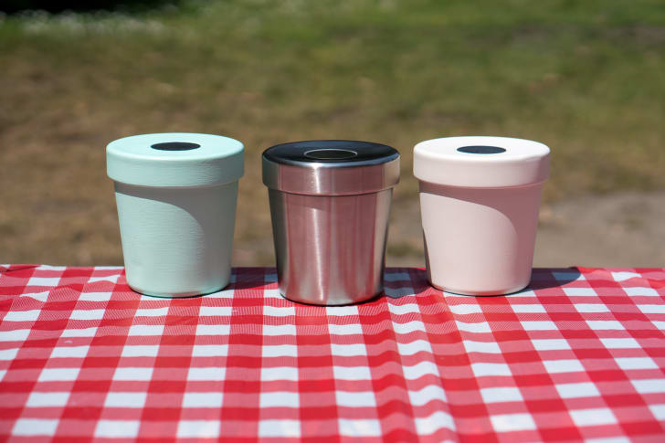 Three Ice Cream Canteens on a picnic table