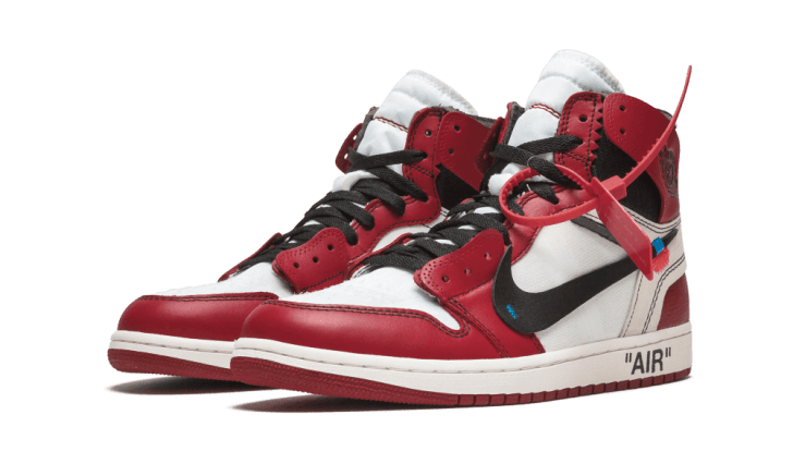 Red and white Nike Air Jordan sneakers.