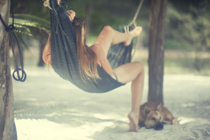 Young woman sleeps in a hammock on the beach with her dog nearby