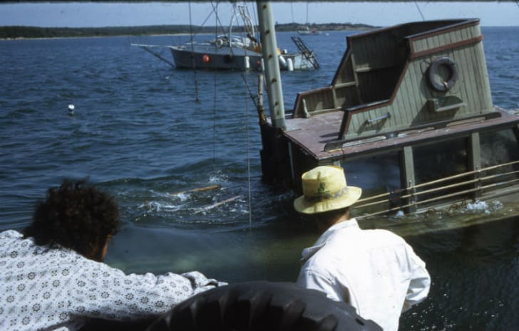 Crew members from 'Jaws' look on as the 'Orca II' sinks