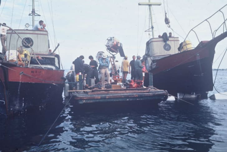 The crew of 1975's 'Jaws' works between the 'Orca' and 'Orca II' boats