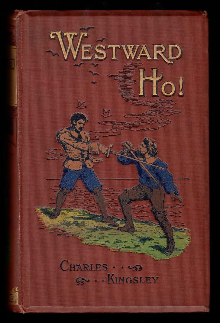 Westward Ho'nun kitap kapağı!  Charles Kingsley tarafından