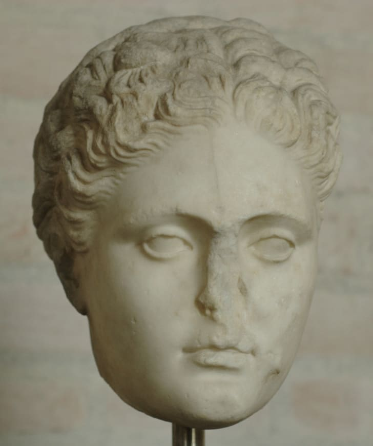 Head of woman. Copy, probably from a statue of Sappho by Silanion (ca. 340–330 BC)