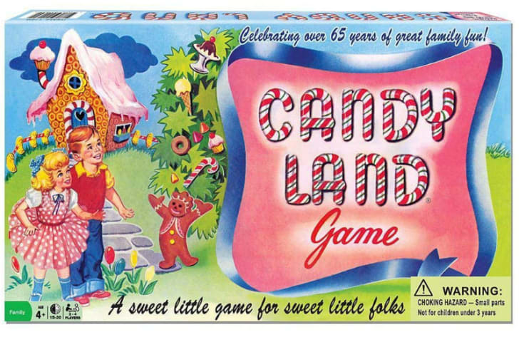 The vintage box art for the board game 'Candy Land' is pictured