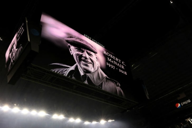 An image of the late Houston Texans owner Robert C. McNair is shown on a big screen prior to a game between the New Orleans Saints and the Dallas Cowboys at AT&T Stadium in Arlington, Texas in 2018