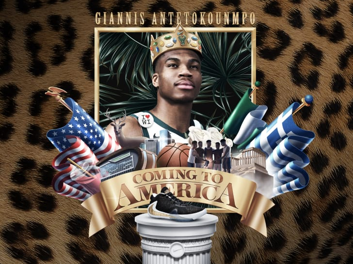 Illustration of Giannis Antetokounmpo inspired by Coming to America