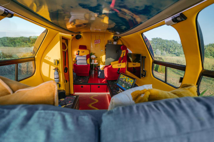 Interior of Wienermobile on Airbnb