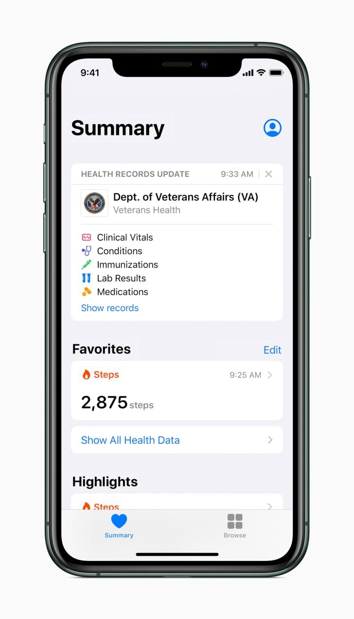 apple VA health app screenshot